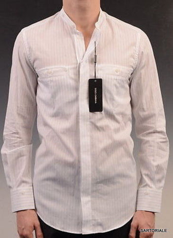 DOLCE&GABBANA White Striped Cotton Slim Fit Dress Shirt US 15.5 NEW EU 39 - SARTORIALE - 1