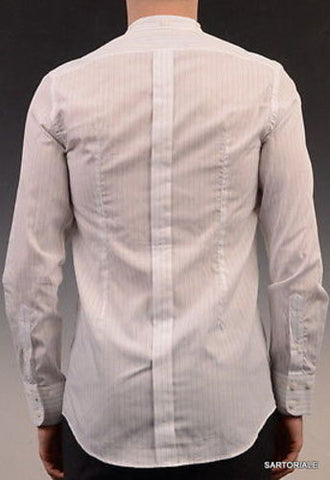 DOLCE&GABBANA White Striped Cotton Slim Fit Dress Shirt US 15.5 NEW EU 39 - SARTORIALE - 2