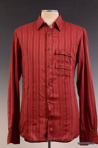 FENDI ITALY Red Striped Silk Cotton Shirt EU 39 NEW US 15.5 - SARTORIALE - 1