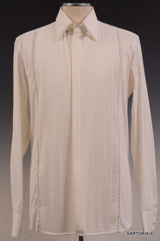 FENDI ITALY White Pleated Shirt EU 40 US 15.75 Slim Fit - SARTORIALE - 1