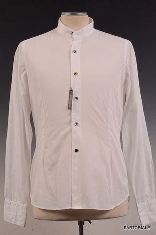FINAMORE Napoli Solid White Cotton Dress Shirt US 15.5 NEW EU 39 Slim - SARTORIALE - 1