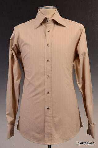GUCCI Beige Striped Cotton French Cuff Dress Shirt US 15.75 NEW EU 40 - SARTORIALE - 1