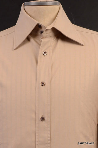 GUCCI Beige Striped Cotton French Cuff Dress Shirt US 15.75 NEW EU 40 - SARTORIALE - 2