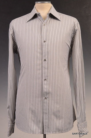 GUCCI Gray Striped Cotton French Cuff Dress Shirt US 15.5 / EU 39 - SARTORIALE - 1