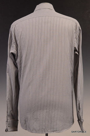 GUCCI Gray Striped Cotton French Cuff Dress Shirt US 15.5 / EU 39 - SARTORIALE - 3