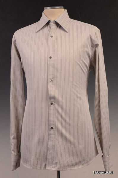 GUCCI Gray Striped Cotton French Cuff Dress Shirt US 15.75 / EU 40 - SARTORIALE - 1