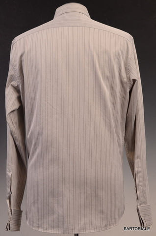 GUCCI Gray Striped Cotton French Cuff Dress Shirt US 15.75 / EU 40 - SARTORIALE - 3