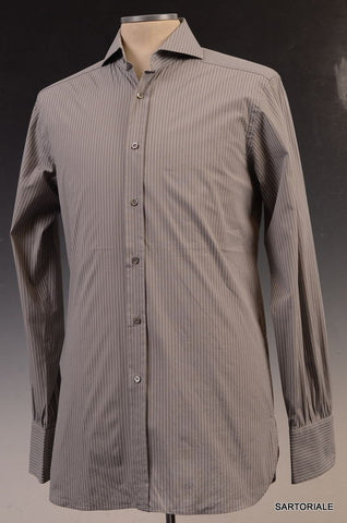 GUCCI Gray Striped Cotton Slim Fit Dress Shirt US 15.5 NEW EU 39 - SARTORIALE - 1