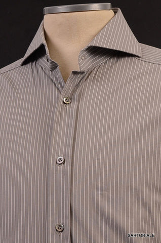 GUCCI Gray Striped Cotton Slim Fit Dress Shirt US 15.5 NEW EU 39 - SARTORIALE - 2