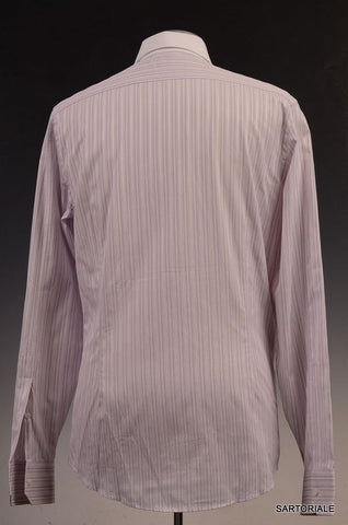 GUCCI Light Purple Striped Cotton Slim Fit Dress Shirt US 15.5 / EU 39 - SARTORIALE - 3