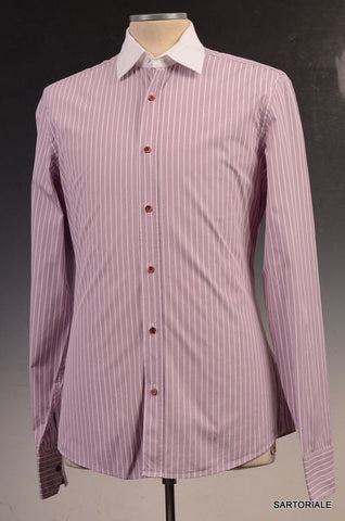 GUCCI Pink Striped Cotton Slim Fit Dress Shirt US 15.5 / EU 39 - SARTORIALE - 1