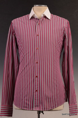 GUCCI Red Striped Cotton Slim Fit Dress Shirt US 15.5 Size EU 39 - SARTORIALE - 1