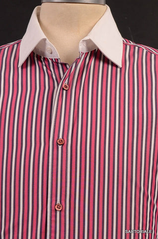 GUCCI Red Striped Cotton Slim Fit Dress Shirt US 15.5 Size EU 39 - SARTORIALE - 2