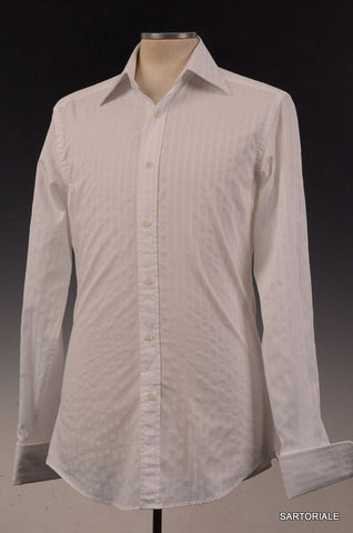 GUCCI White Striped Cotton French Cuff Dress Shirt US 15.5 NEW EU 39 - SARTORIALE - 1