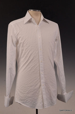 GUCCI White Striped Cotton French Cuff Dress Shirt US 15.5 NEW EU 39 - SARTORIALE - 2
