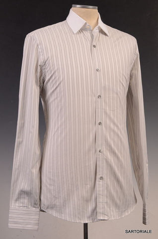 GUCCI White Striped Cotton Slim Fit Dress Shirt US 15.5 / EU 39 - SARTORIALE - 1