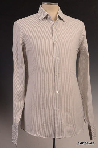 GUCCI White Striped Cotton Slim Fit Dress Shirt US 15.5 NEW EU 39 - SARTORIALE - 1
