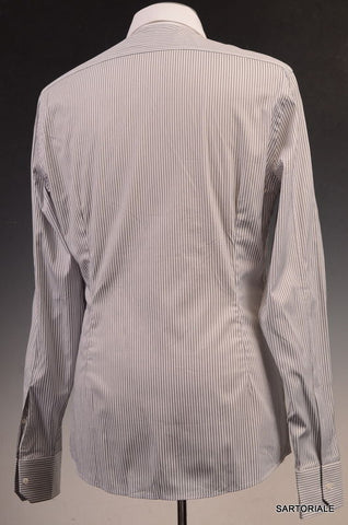 GUCCI White Striped Cotton Slim Fit Dress Shirt US 15.5 / EU 39 - SARTORIALE - 3