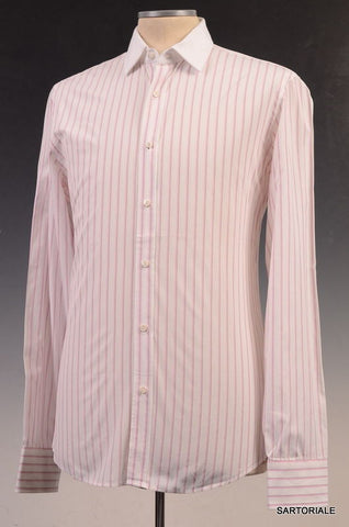GUCCI White Striped Cotton Slim Fit Dress Shirt US 15.5 Size EU 39 - SARTORIALE - 1