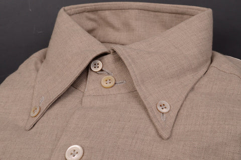 KITON NAPOLI Hand Made Beige Cotton Button Down Shirt NEW US 15 / EU 38 - SARTORIALE - 2