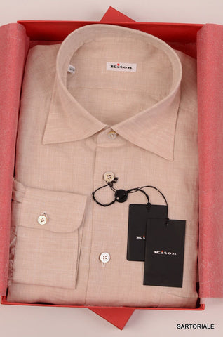 KITON NAPOLI Hand Made Beige Linen Fitted Shirt NEW US 17 / EU 43 - SARTORIALE - 1