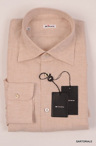KITON NAPOLI Hand Made Beige Linen Fitted Shirt NEW US 17 / EU 43 - SARTORIALE - 2