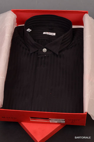 KITON NAPOLI Hand Made Black Striped Cotton Fitted Dress Shirt NEW US 16 / EU 41 - SARTORIALE - 1