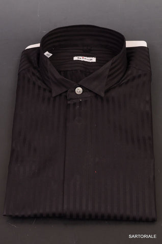 KITON NAPOLI Hand Made Black Striped Cotton Fitted Dress Shirt NEW US 16 / EU 41 - SARTORIALE - 2