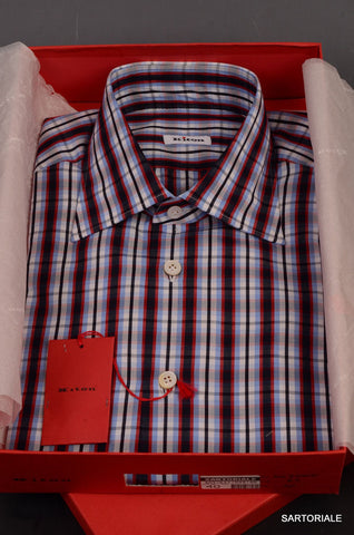 KITON NAPOLI Hand Made Blue Plaid Cotton Fitted Shirt NEW US 15.5 / EU 39 - SARTORIALE - 1