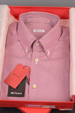 KITON NAPOLI Hand Made Blue-Red Striped Cotton Button Down Shirt NEW 15.75 / 40 - SARTORIALE - 1
