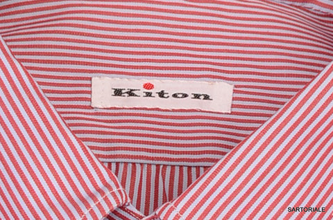 KITON NAPOLI Hand Made Blue-Red Striped Cotton Button Down Shirt NEW 15.75 / 40 - SARTORIALE - 2
