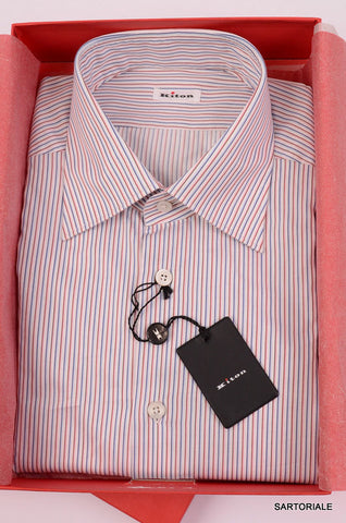 KITON NAPOLI Hand Made Blue-Red Striped Fitted Cotton Shirt NEW US 17 / EU 43 - SARTORIALE - 1