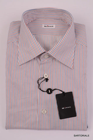 KITON NAPOLI Hand Made Blue-Red Striped Fitted Cotton Shirt NEW US 17 / EU 43 - SARTORIALE - 2