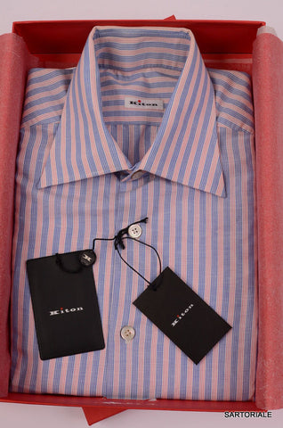 KITON NAPOLI Hand Made Blue-Red Striped Linen-Cotton Shirt NEW US 15.5 / EU 39 - SARTORIALE - 1