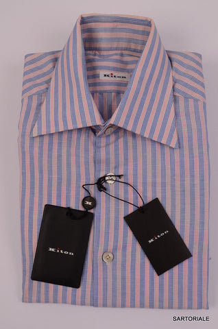 KITON NAPOLI Hand Made Blue-Red Striped Linen-Cotton Shirt NEW US 15.5 / EU 39 - SARTORIALE - 2