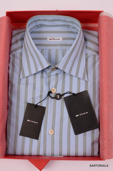 KITON NAPOLI Hand Made Blue Striped Cotton Shirt NEW - SARTORIALE - 1