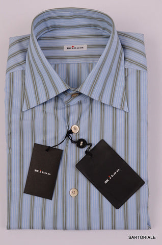 KITON NAPOLI Hand Made Blue Striped Cotton Shirt NEW - SARTORIALE - 2