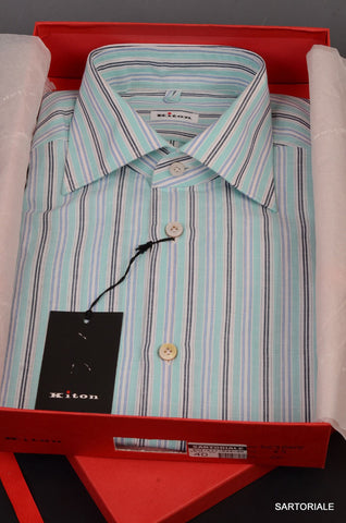 KITON NAPOLI Hand Made Blue Striped Linen-Cotton Fitted Shirt NEW US 15.75 / 40 - SARTORIALE - 1