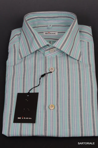KITON NAPOLI Hand Made Blue Striped Linen-Cotton Fitted Shirt NEW US 15.75 / 40 - SARTORIALE - 2