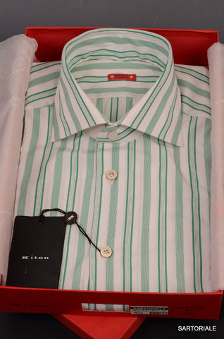 "KITON NAPOLI Hand Made ""CIPA1960"" Green Striped Cotton Shirt NEW US 16.5 / EU 42 - SARTORIALE - 1"