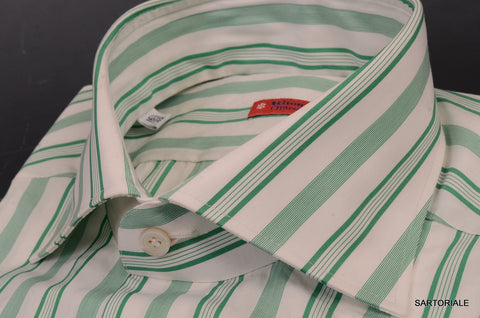 "KITON NAPOLI Hand Made ""CIPA1960"" Green Striped Cotton Shirt NEW US 16.5 / EU 42 - SARTORIALE - 2"