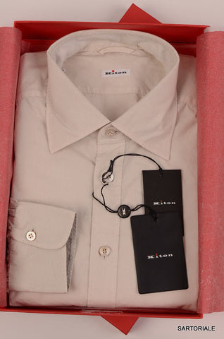 KITON NAPOLI Hand Made Cream Cotton Fitted Shirt NEW US 17 / EU 43 - SARTORIALE - 1