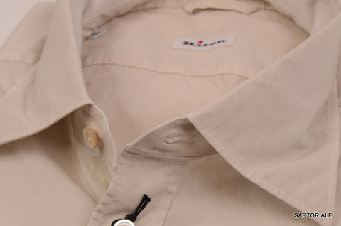 KITON NAPOLI Hand Made Cream Cotton Fitted Shirt NEW US 17 / EU 43 - SARTORIALE - 2