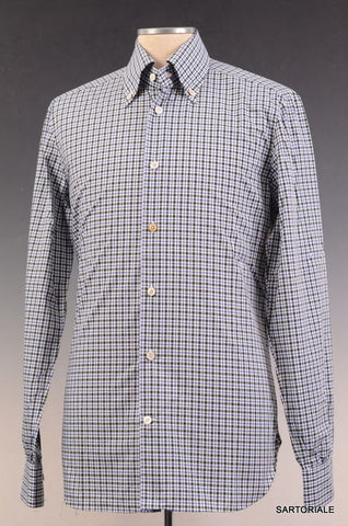 KITON NAPOLI Hand Made Green & Blue Cotton Shirt NEW US 15.75 / EU 40 - SARTORIALE - 1