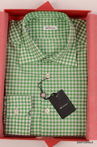 KITON NAPOLI Hand Made Green Plaid Cotton Fitted Shirt NEW US 15.75 / EU 40 - SARTORIALE - 1