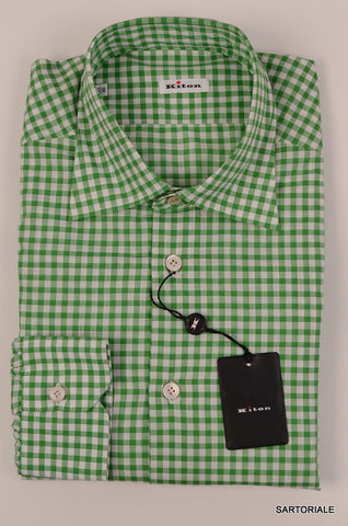 KITON NAPOLI Hand Made Green Plaid Cotton Fitted Shirt NEW US 15.75 / EU 40 - SARTORIALE - 2