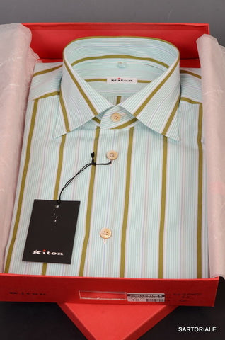 KITON NAPOLI Hand Made Green Striped Cotton Fitted Dress Shirt NEW US 15.75 / 40 - SARTORIALE - 1