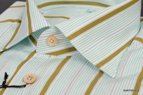 KITON NAPOLI Hand Made Green Striped Cotton Fitted Dress Shirt NEW US 15.75 / 40 - SARTORIALE - 2