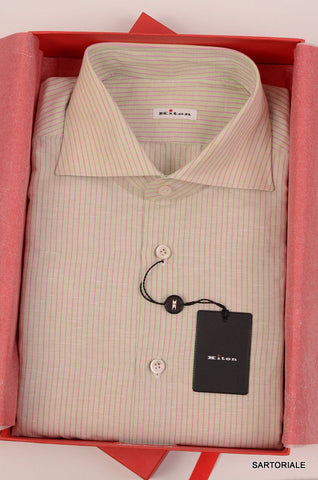 KITON NAPOLI Hand Made Green Striped Cotton-Linen Shirt NEW - SARTORIALE - 1