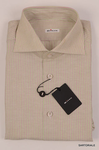 KITON NAPOLI Hand Made Green Striped Cotton-Linen Shirt NEW - SARTORIALE - 2